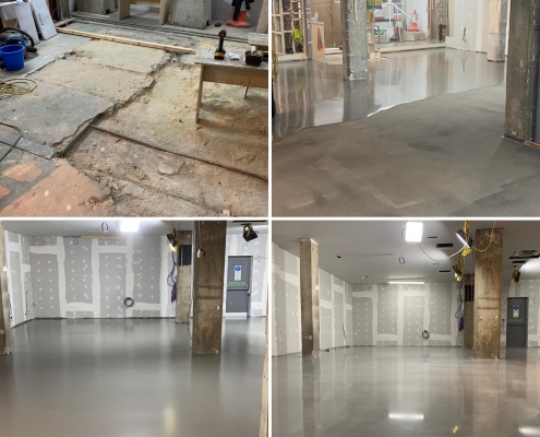 Polished Concrete and Overlay for Russell Bromley London